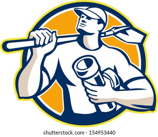 Illustration of a drainlayer builder construction worker wearing hat with shovel on shoulder and holding drain pipe connector set inside circle done in retro style.