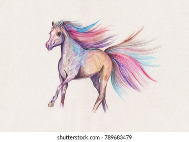 Illustration drawing of color watercolor pencils running horse with lush mane