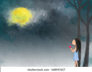 Illustration Drawing Of Lonely Girl Holding Heart In Forest Over Night  Starry Sky. Idea Of