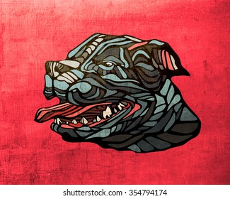 Illustration or drawing of a pitbull dog with his teeth and tongue out
