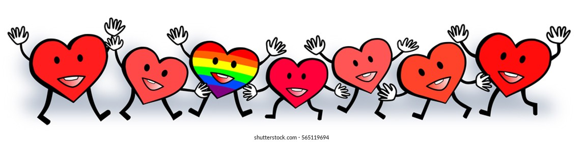 Illustration drawing of standout gay rainbow hearts love design.