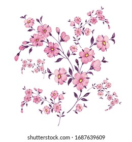Illustration drawn by paints on paper beautiful delicate wildflowers. Handmade illustration for design and decoration.