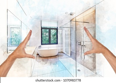 Illustration dreaming and planned renovation of  a Bathtub in corian, Faucet and shower in tiled bathroom