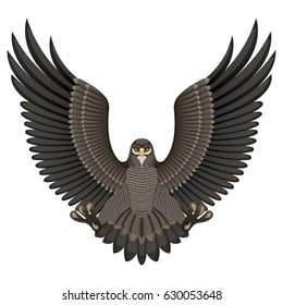 Illustration of an eagle isolated on white background. Raster version.