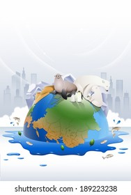 Illustration of the earth and global warming