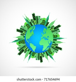 Illustration of the earth with green buildings isolated on a white background.
