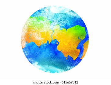 Illustration of Earth with watercolor texture on white background. Hand painted Earth globe. Watercolor artwork