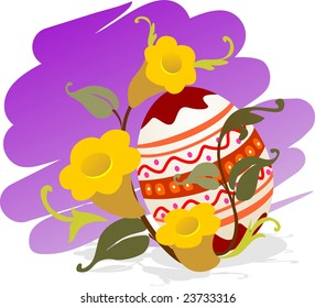 Illustration of easter eggs with flower