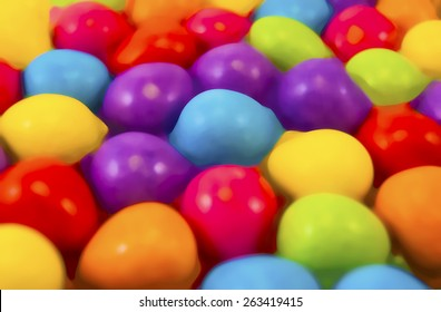 Illustration of easter mini eggs laying on a slate table, created using median noise reduction,