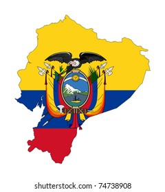 Illustration of the Ecuador flag on map of country; isolated on white background.