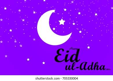 illustration of Eid-Ul-Adha on stars and moon background for Muslim community festival celebrations.