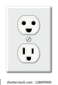 Illustration of an electrical outlet as happy faces.