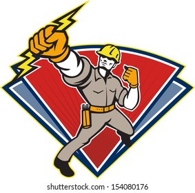 Illustration of an electrician power lineman wielding holding a lightning bolt facing side done in retro style in isolated white background.