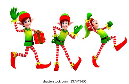 illustration of elves with gift box