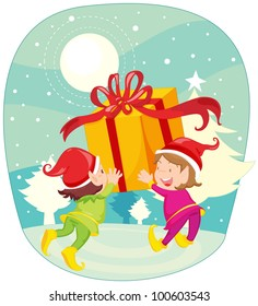 Illustration of elves and presents - EPS VECTOR format also available in my portfolio.