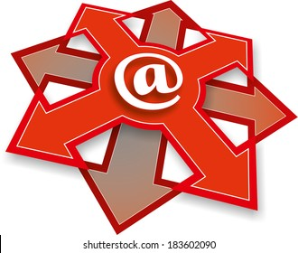 illustration of an email button with arrows