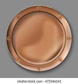 illustration of empty copper plate. top view. on grey background.