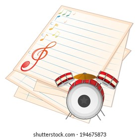 Illustration of an empty music paper with a drum on a white background