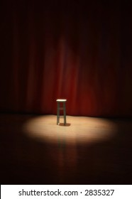 Illustration of an empty stool on a stage of a theater, concert or comedy show lighted by a single spotlight in front of a red curtain.
