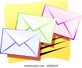 Illustration of envelopes for mail