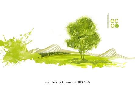 Illustration of environmentally friendly planet. Green field with tree and forest, isolated on a white background. Think Green. Ecology Concept. Environmental awareness.