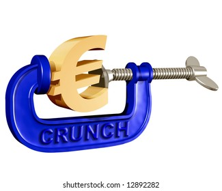 Illustration of a Euro symbol being squeezed in a crunch clamp