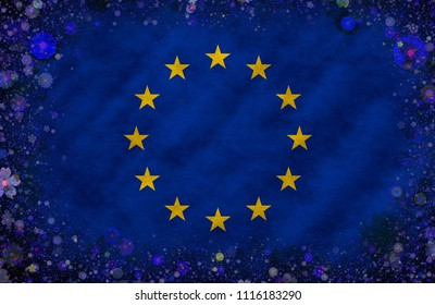 Illustration of the European Union´s Flag with a flowered frame