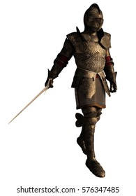 Illustration of a European Medieval or Fantasy Knight in decorated armour holding a sword, digital illustration (3d rendering)