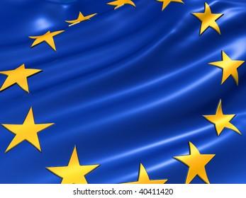 Illustration of the European Union flag - 3d render