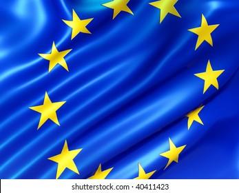 Illustration of the European Union flag isolated on white  - 3d render