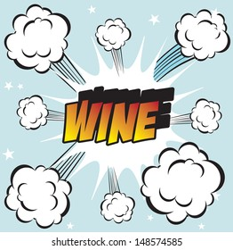 Illustration of explosion or big fight in comics book style WINE