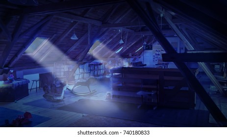 an illustration of a fairy-tale attic, dark blue  color,  rays of light penetrating from the windows