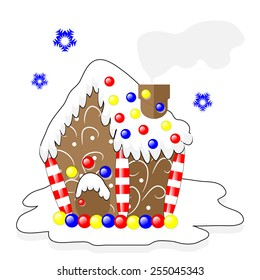 illustration fairytale gingerbread house decorated with candy and pattern