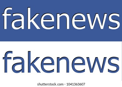 Illustration of fake news on social media in blue and white.