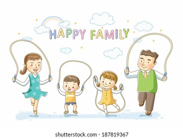 Illustration of family jumping rope