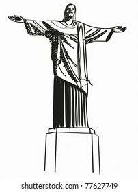 Illustration Famous statue of the Christ the Reedemer, in Rio de Janeiro, Brazil.