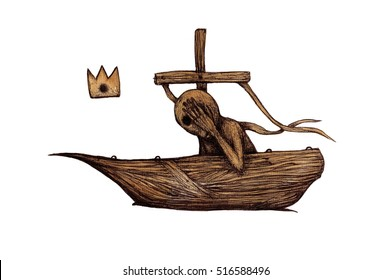 Illustration with fantastic characters in the boat. Strange creatures