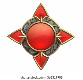 Illustration of fantasy emblem with red gems and gold