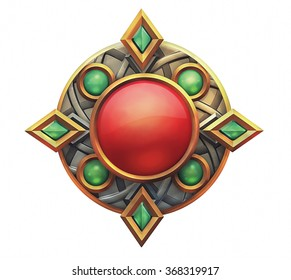 Illustration of fantasy emblem with red and green gems