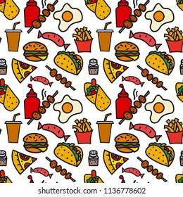 illustration of fast food seamless pattern