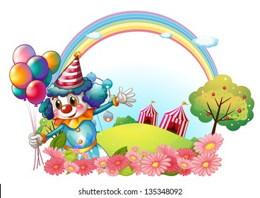 Illustration of a female clown at the hill with a rainbow on a white background