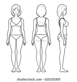 Illustration of a female figure - front, rear and side view in underwear
