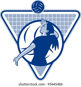 Illustration of a female volleyball player serving ball viewed from side set inside triangle shield.