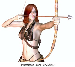 Illustration of a female warrior with bow and arrow