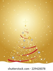 an illustration of a festive christmas greeting card design including a golden themed decorated tree metallic baubles and red ribbon on a snowy background