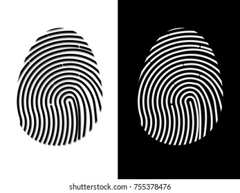 Illustration of fingerprint not based on real human reference. Isolated on white and on black.