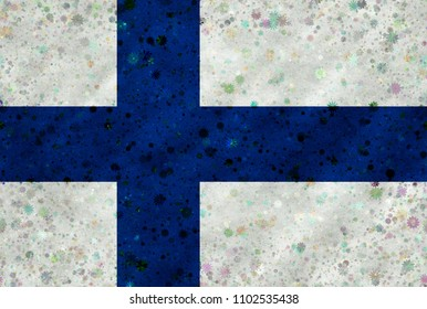 Illustration of a Finnish flag with a blossom pattern