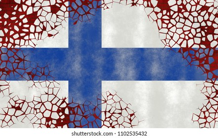Illustration of a Finnish Flag, imitating of painting on the old wall with cracks