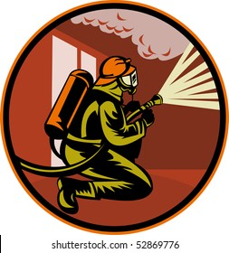 illustration of a Fireman firefighter kneeling with fire hose fighting fire and smoke set inside circle
