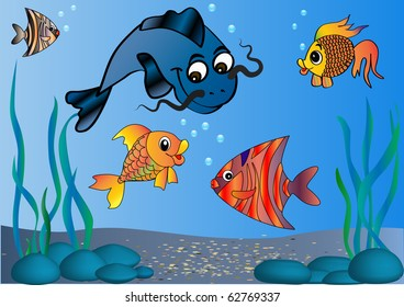 Illustration of the fish in undersea world